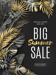 Big sale vertical banner. Summer sale tropical leaves poster. Exotic gold and black leaves and plants background