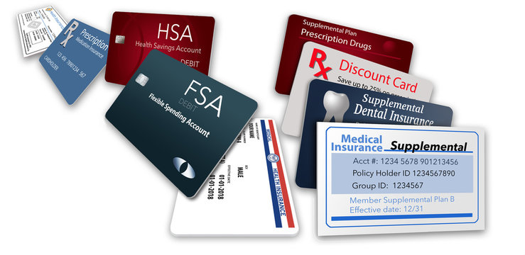 Here is an illustration with nine of the healthcare insurance cards you might be carrying.