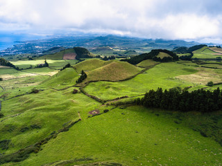 Green fields of San Miguel island, Azores - Portugal.