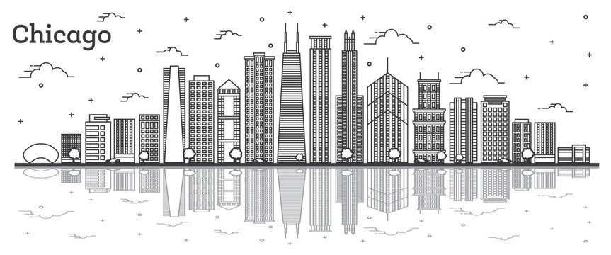 Outline Chicago Illinois City Skyline with Modern Buildings and Reflections Isolated on White.