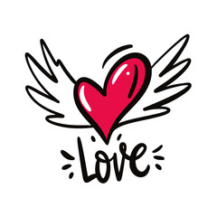 Heart with wings. Love symbol. Hand drawn vector illustration and Love phrase lettering. Cartoon style.