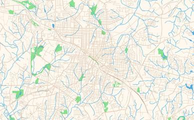 Durham North Carolina printable map excerpt
