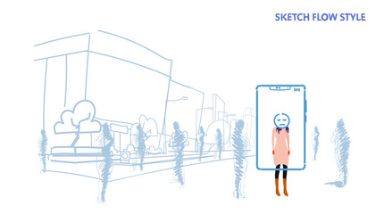 woman standing out from crowd people silhouettes using mobile application tired mask face smartphone screen city street cityscape background sketch flow style horizontal