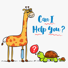 Giraffe and Turtle Family are Chatting illustration - Vector