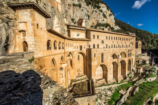 Monastery of Sacred Cave (Sacro Speco) of Saint Benedict in Subiaco, province of Rome, Lazio, central Italy. Monastero del Sacro Speco di San Benedetto da Norcia.