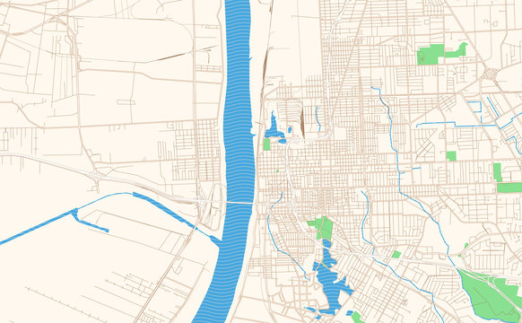 Baton Rouge Louisiana printable map excerpt