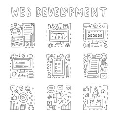 Web development doodle icon set. Documentation, design, coding, content, marketing, startup, seo. Vector illustration.