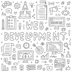 Website development doodles elements. Hand drawn vector icons set.