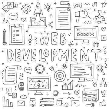 Website development doodles elements. Hand drawn vector icons set.