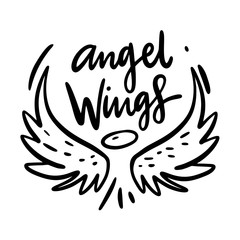 Angel Wings hand drawn vector illustration. Isolated on white background.