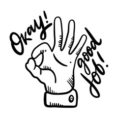 Hand showing symbol Like. Making thumb up gesture. Vector black vintage engraved illustration isolated on a white background.