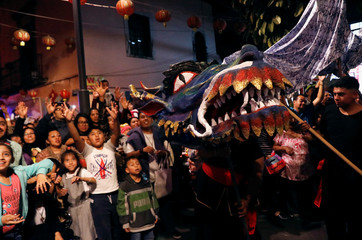 People perform a traditional Chinese dragon dance to mark the Chinese Lunar New Year of the Pig in Chinatown in Mexico City, Mexico February 6, 2019. REUTERS/Henry Romero