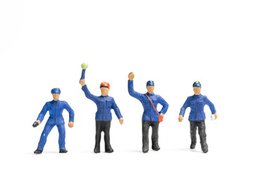 Miniature people : Train staff  isolated on white background