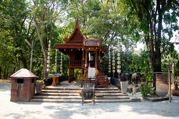Shrine or spirit house at Wat Pho Kao Ton temple in Bang Rachan village in Sing Buri, Thailand