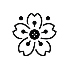 Black solid icon for cherryblossom