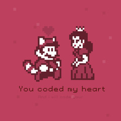 Illustration of a pixel style Princess and a man with a tail. The inscription I coded your heart.