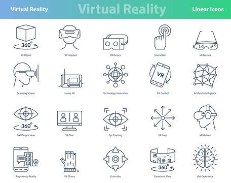 Set of black outline virtual reality icons