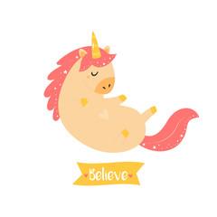 Cute magical unicorn. Inspirational card