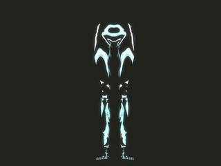 glow neon human body part with reflection on black background