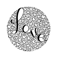 Love Hand lettering Handmade calligraphy on circle background. - Vector
