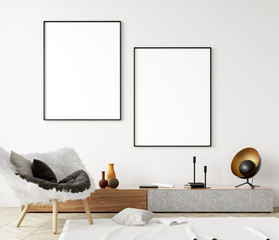 Mock up poster frame in modern home interior. Scandinavian style. 3d render