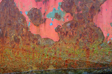 The texture of iron painted with different layers of color paint