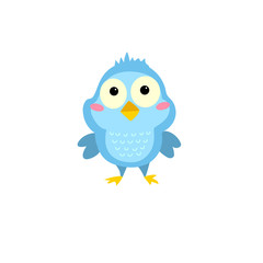 Little cartoon bird. Character is great for children's products: clothes, textiles, postcards, stationery products and other things. Vector illustration.Little cartoon bird. Character is great for chi