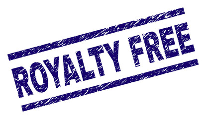 ROYALTY FREE seal imprint with grunge style. Blue vector rubber print of ROYALTY FREE title with unclean texture. Text title is placed between parallel lines.