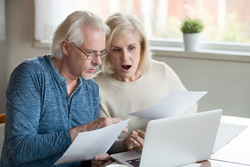 Aged married couple received unpaid bills and taxes feels stressed