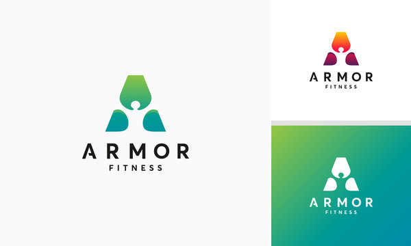 A-initial Healthy person logo concept,  Armor logo with person