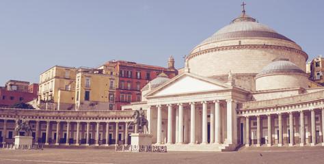 Foto auf AluDibond Neapel Lion statue in Naples, Piazza del Plebiscito, San Francesco di Paola church