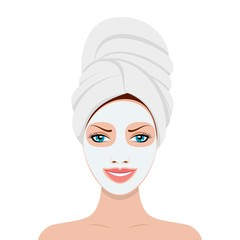 Woman with a cosmetic face mask. Smiling girl portrait. Vector illustration in flat style