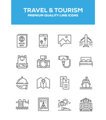 Travel And Tourism Line Icon Set Concept