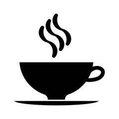 cup of coffee black and white vector icon