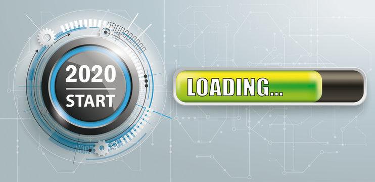 2020 Start Button Circuit Board Loading Banner