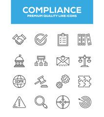 Compliance Line Icon Set Concept