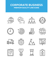 Corporate Business Line Icon Set Concept