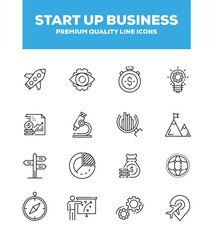 Start Up Business Line Icon Set Concept