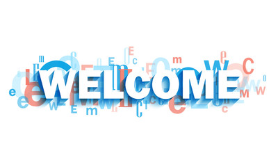 WELCOME blue and coral typography banner