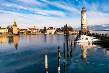 Lindau Am Bodensee Hafen Im Winter Buy This Stock Photo And