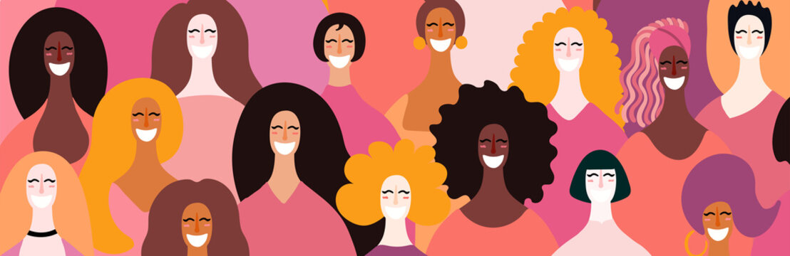 Womens day card, poster, banner, background, with diverse women faces. Hand drawn vector illustration. Flat style design. Concept, element for feminism, girl power.