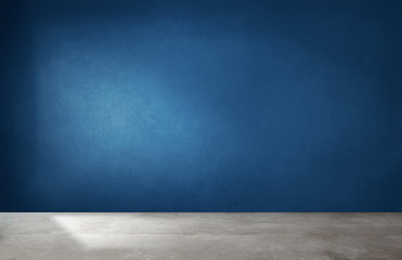 Dark blue wall in an empty room with a concrete floor Wall mural
