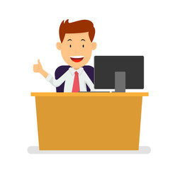 Businessman at workplace with thumb lifted up, Flat style Vector Illustration