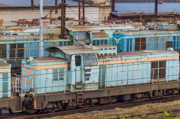 LOCOMOTIVE - Old worn out railway vehicles waiting for renovation