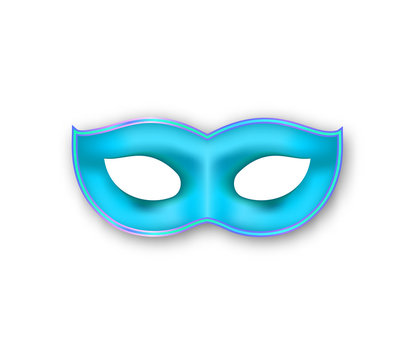 Mardi Gras mask blue color. Authentic Venetian Carnival Face Mask. Masquerade realistic party decoration isolated on white background.