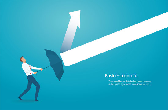 Businessman with umbrella protecting himself from drawn arrows vector illustration