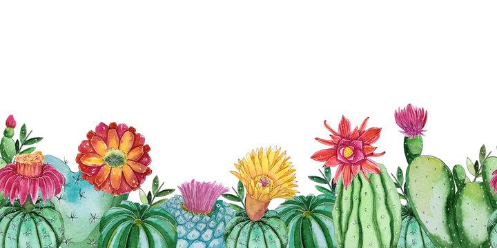 Watercolor cactus plants template.