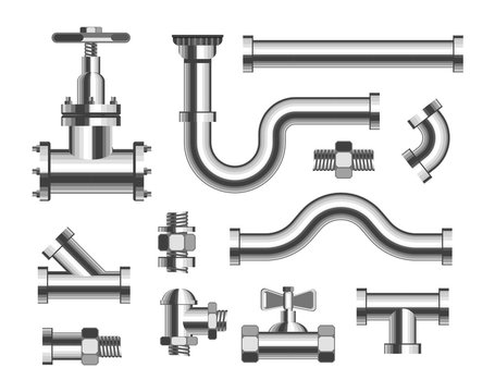 Tubes and piping plumbing and canalization isolated metal pipeline elements