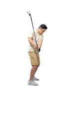 Handsome asian golf player man ready to swing a golf stick