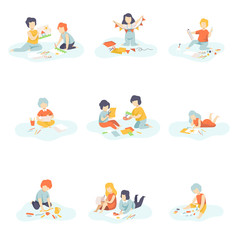 Boys and Girls Sitting on Floor Painting, Cutting, Drawing, Modelling from Plasticine, Kids Creativity, Education, Development Vector Illustration